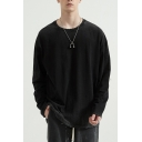 Leisure Ombre T-Shirt Color Faded Long Sleeve Round Neck Loose Fit Tee Top for Men