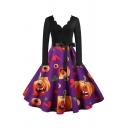 Novelty Womens Dress Pumpkin Ghost Pattern Bow Tie Waist Midi A-Line Slim Fitted Scalloped V Neck Long Sleeve Swing Dress
