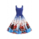 Womens Dress Fashionable Father Christmas Gift Reindeer Snow Candy Cane Print Scoop Neck Sleeveless A-Line Slim Fitted Midi Swing Dress