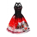 Retro Womens Dress Father Christmas House Snowman Tree Snowflake Pattern Midi A-Line Slim Fit Tie-Halter Sweetheart Neck Sleeveless Swing Dress