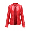 Womens Jacket Fashionable Solid Color Zipper Detail Long Sleeve Stand Collar Slim Fit Leather Jacket