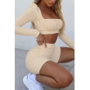 Vintage Womens Co-ords Solid Color Ruched-Bust Detail Long Sleeve Square Neck Cropped Tee Slim Fitted Shorts Co-ords