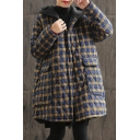 Womens Jacket Chic Plaid Pattern Quilted Button down Loose Fit Long Sleeve Mid-Length Hooded Padded Jacket