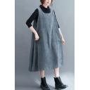 Fancy Women's Strap Dress Solid Color Corduroy Front Big Pockets Round Neck Sleeveless Oversized Strap Dress