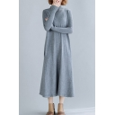 Basic Sweater Dress Solid Color Contrast Stitching Pockets Rib Knitted Mock Neck Long-sleeved Regular Fitted Midi Sweater Dress for Women