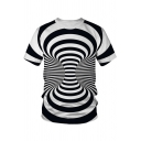 Cool 3D Striped Whirlpool Pattern Round Neck Short Sleeve Black and White T-Shirt