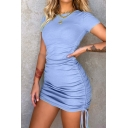 Vintage Womens Dress Solid Color Rib Knit Double Ruched Drawstring Side Mini Slim Fitted Round Neck Short Sleeve Bodycon Dress