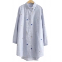 Classic Womens Shirt Vegetable Fruit Embroidered Pinstripe Pattern Spread Collar Button Detail Tunic Loose Fit Long Sleeve Shirt