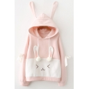 Womens Hoodie Fashionable Color Block Rabbit-Ear Tie Decoration Drawstring Long Sleeve Relaxed Fitted Hooded Sweatshir