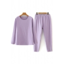 Vintage Womens Co-ords Solid Color Double-Sided Fleece Long Sleeve Round Neck Tee Loose Fitted Tapered Pants Co-ords