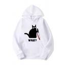Classic Womens Hoodie Cat Knife Letter What Pattern Kangaroo Pocket Drawstring Long Sleeve Relaxed Fitted Hoodie