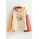 Vintage Womens Hoodie Color Block Carrot Rabbit Letter Hi Print Drawstring Long Sleeve Relaxed Fitted Hoodie