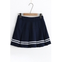 Preppy Style Striped Print Mini Pleated A-Line Skirt