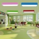Macaron Block Flush Ceiling Light Metal Nursery School LED Flushmount Lighting in Red/Pink/Blue