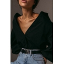 Womens Shirt Creative Solid Color Turn-down Collar Button-down Slim Fitted Long Lantern Sleeve Shirt