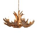 Artificial Moose Antler Bistro Chandelier Rural Resin 10-Head Brown Hanging Pendant Light
