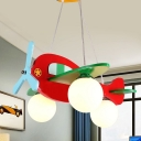 Helicopter Chandelier Cartoon Metal 3-Bulb White/Red Ceiling Suspension Lamp in Warm/White Light for Baby Room