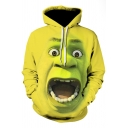 3D Cool Pattern Long Sleeve Loose Fit Pullover Green Hoodie