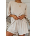 Apricot Cosy Tee and Shorts Set Plain Pocket Half Sleeve Round Neck Loose Fitted Co-ords for Women