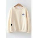 Vintage Womens Sweatshirt Cat Fish Paw Embroidered Long Sleeve Relaxed Fit Crew Neck Pullover Sweatshirt
