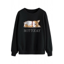 Vintage Womens Sweatshirt Corgi Dog Letter Not Today Pattern Loose Fit Long Sleeve Crew Neck Pullover Sweatshirt