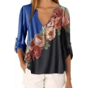 Fancy Women's Blouse Printed Rolled Hem Button V Neck Three-Quarter Sleeves Henley Blouse for Women