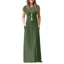 Basic A-Line Dress Solid Color Side Pockets Crew Neck Short Sleeves Long A-Line Dress for Women