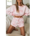 Fashion Girls Sweatshirt Shorts Sets Tie-Dye Graphic RUNAWAY Pocket High Waist Long Sleeve Round Neck Co-ords