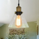 Single-Bulb Drop Pendant Warehouse Dining Room Hanging Light Fixture with Cone Clear Glass Shade in Brass