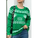 Womens Funny Green Christmas Tree Printed Crew Neck Long Sleeve Knitted Sweater in Loose Fit
