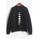 Womens Pullover Sweatshirt Fashionable Moon Phase Print Long Sleeve Relaxed Fit Stand Collar Pullover Sweatshirt