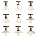 Clear/Ribbed Glass Brass Semi Flush Bowl/Saucer/Pear Shaped 1 Bulb Vintage Flush Mount Ceiling Light for Kitchen