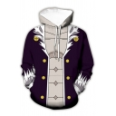 Creative Men's 3D Hoodie Color Block Cartoon Pattern Drawstring Hood Side Pockets Long Sleeve Regular Fit Hoodie