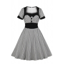 Novelty Womens Dress Contrast Trim Plaid Pattern Button Decoration Square Neck Short Sleeve A-Line Slim Fitted Midi Swing Dress