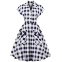 Novelty Womens Dress Checkered Print Button Decoration Front-Pocket Waist Controlled Cap Sleeve Midi A-Line Slim Fitted Lapel Collar Swing Dress