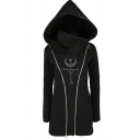 Womens Hooded Sweatshirt Unique Punk Style Crescent Moon Scale Print Zipper Embellished Tunic Slim Fitted Long Sleeve Hoodie