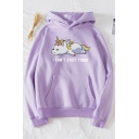 Womens Hoodie Creative Unicorn Letter I Can't Exist Today Pattern Kangaroo Pocket Drawstring Long Sleeve Relaxed Fitted Hooded Sweatshirt
