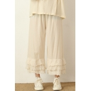 Creative Womens Pants Plain Layered Lace Trim Cotton Elastic Waist Loose Fitted 7/8 Length Straight Relaxed Pants