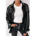 Womens Jacket Trendy Solid Color Button Detail Long Sleeve Turn-down Collar Slim Fit Leather Jacket with Chest Pockets