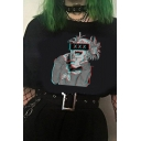 Cute Women's Tee Top Cartoon Printed Rolled Cuffs Round Neck Short Sleeves Regular Fitted T-Shirt