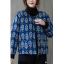 Creative Women's Jacket All over Fish Printed Contrast Trim Zip Fly Front Pockets Round Neck Long Sleeves Regular Fitted Jacket