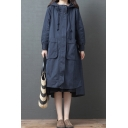 Basic Women's Hooded Coat Solid Color Drawstring Zip Fly Big Flap Pockets Asymmetrical Long Sleeve Relaxed Fitted Hooded Coat