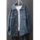 Popular Denim Jacket Solid Color Button-down Chest Pockets Turn-down Collar Long-sleeved Fitted Denim Jackets for Women