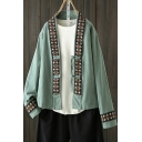 Tribal Style Women's Contrast Trim Flower Embroidered Block Single-Breasted Long-sleeved Coat