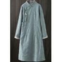 Ethnic Style Women's Dress Jacquard Pattern Button Decoration Stand Collar Long Sleeves Regular Fit Cheongsam Dress