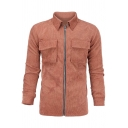 Metrosexual Mens Popular Long Sleeve Chest Pocket Zip Up Brick Red Ribbed Jacket