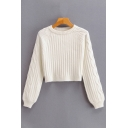 Womens Sweater Casual Plain Rib Cable Knitted Round Neck Cropped Long Sleeve Relaxed Fitted Sweater