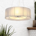 Simple Style Blue Chandelier Drum Shade 3 Lights Fabric Hanging Light for Bedroom Hotel