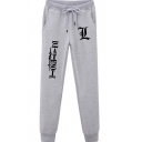 Vintage Mens Pants Letter Pattern Anime Death Note Drawstring Waist Slim Fit 7/8 Length Tapered Cuffed Jogger Pants