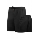 Retro Mens Shorts Solid Color Regular Fitted Drawstring Waist Quick-Dry Sport Shorts
